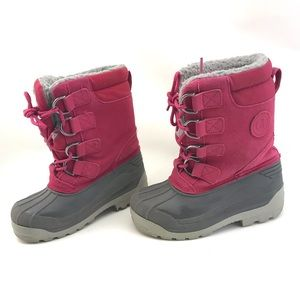 LANDS END girls pink suede leather snow rain boot
